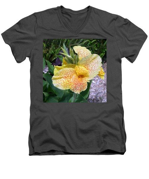 Men's V-Neck T-Shirt featuring the digital art Leopard Flower by Claude McCoy