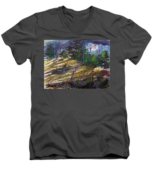 Men's V-Neck T-Shirt featuring the painting Light Against Indigo by John Williams