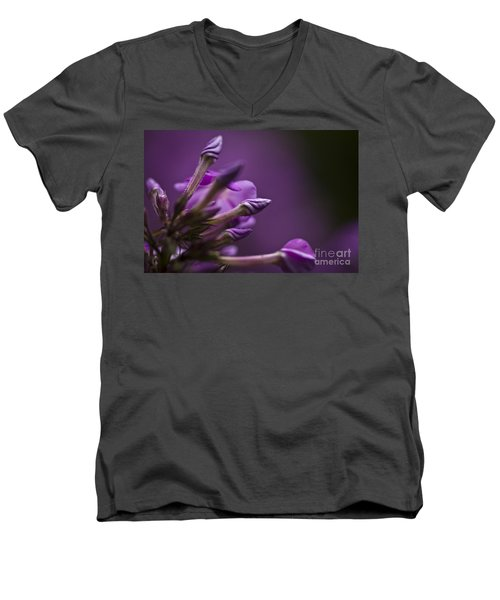 Men's V-Neck T-Shirt featuring the photograph Lilac Spirals. by Clare Bambers