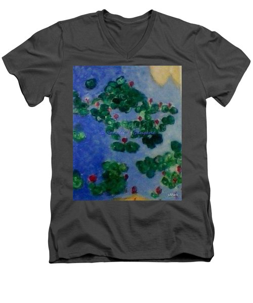 Men's V-Neck T-Shirt featuring the painting Lily Pond by Sonali Gangane