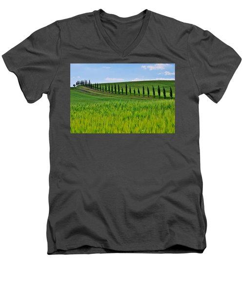 Lined Up Men's V-Neck T-Shirt