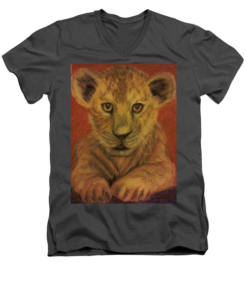 Men's V-Neck T-Shirt featuring the pastel Lion Cub by Christy Saunders Church