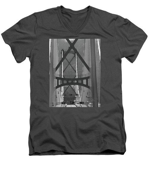 Men's V-Neck T-Shirt featuring the photograph Lions Gate Bridge by John Schneider
