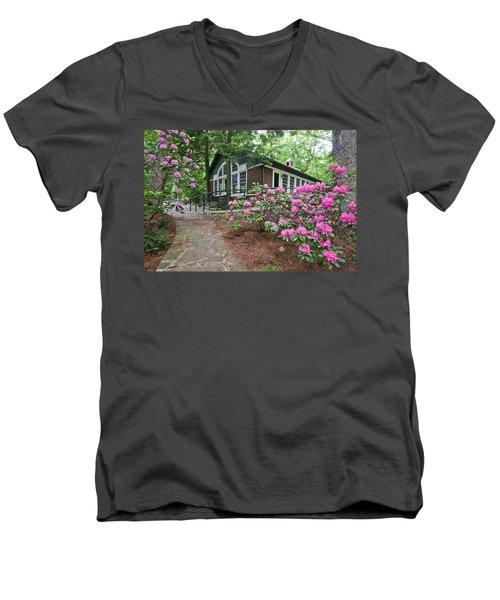 Little Brown Church In Spring Men's V-Neck T-Shirt