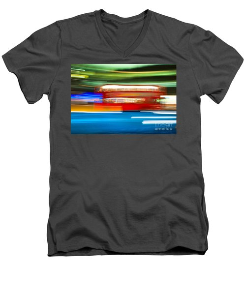 Men's V-Neck T-Shirt featuring the photograph London Bus Motion by Luciano Mortula
