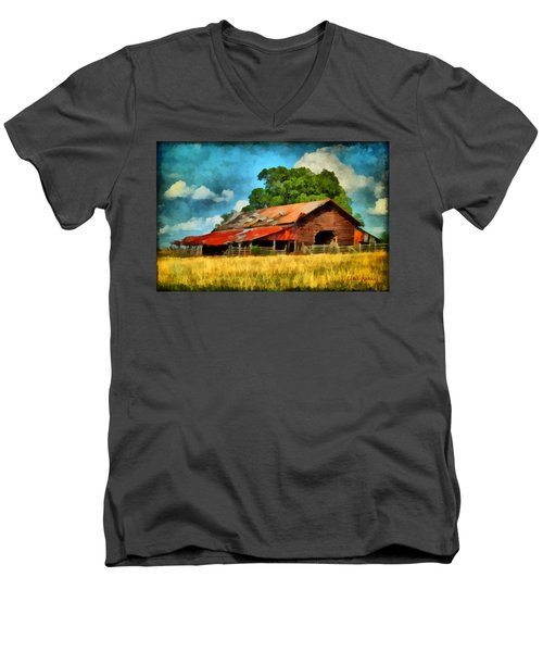 Men's V-Neck T-Shirt featuring the painting Long Road Barn by Lynne Jenkins