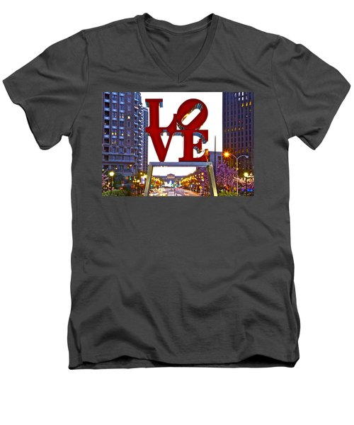 Men's V-Neck T-Shirt featuring the photograph Love In Philadelphia by Alice Gipson