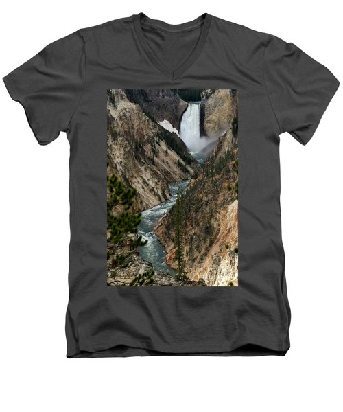 Men's V-Neck T-Shirt featuring the photograph Lower Falls And Yellowstone River by Living Color Photography Lorraine Lynch