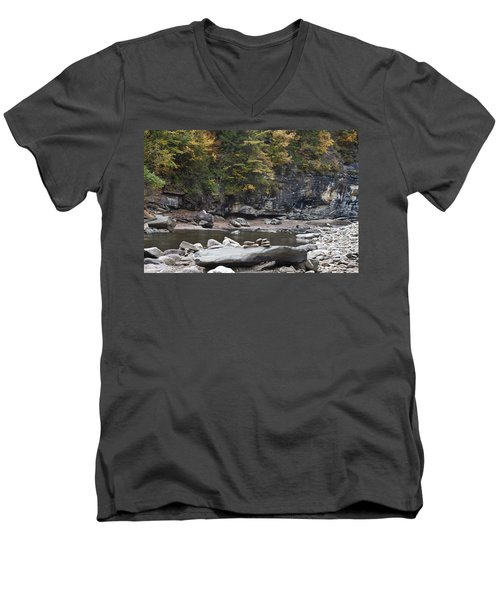 Loyalsock Creek In The Fall Men's V-Neck T-Shirt
