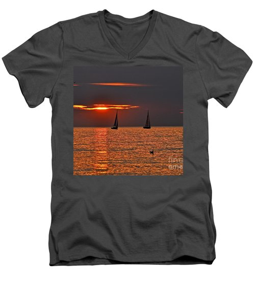 Coral Maritime Dream Men's V-Neck T-Shirt