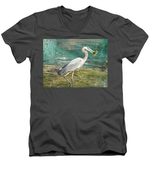 Men's V-Neck T-Shirt featuring the photograph Lunchtime by Laurel Best