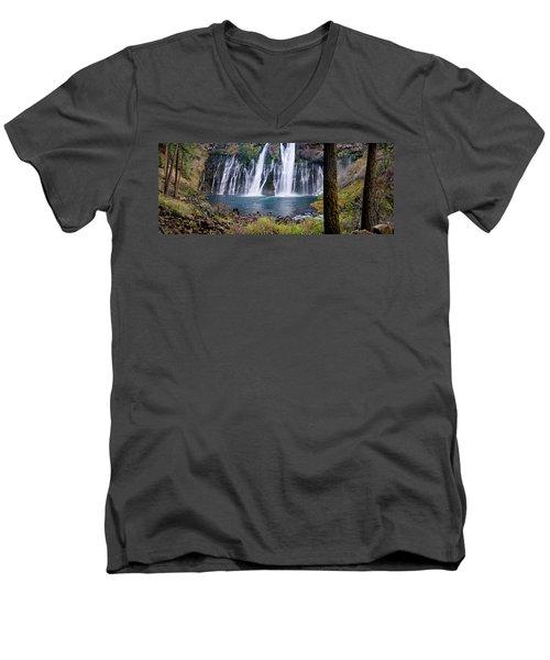 Macarthur-burney Falls Panorama Men's V-Neck T-Shirt