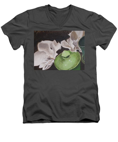 Magnolias With Green Sugar Bowl Men's V-Neck T-Shirt