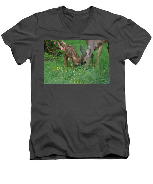 Men's V-Neck T-Shirt featuring the photograph Mama And Spotted Baby Fawn by Kym Backland