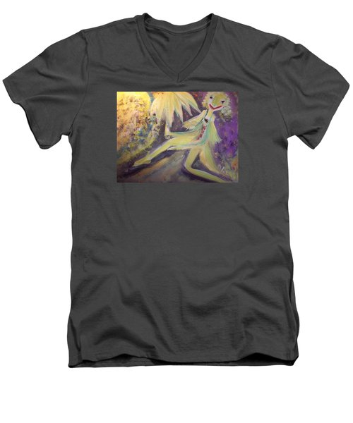 Man In The Moon Men's V-Neck T-Shirt by Judith Desrosiers