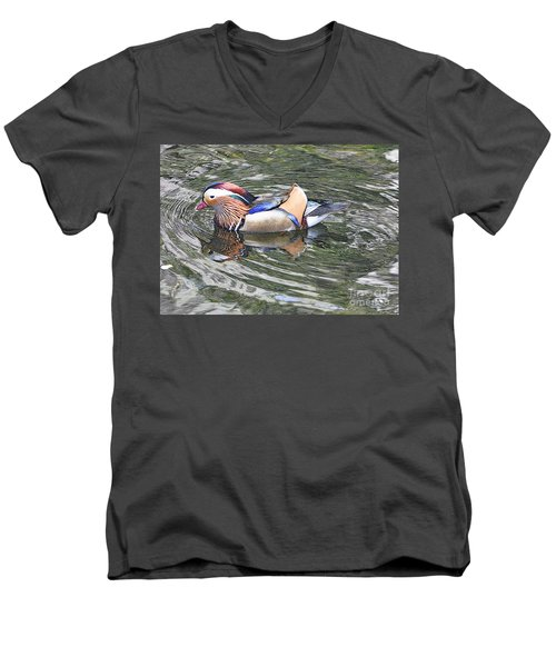 Men's V-Neck T-Shirt featuring the photograph Mandarin Duck  by Lydia Holly