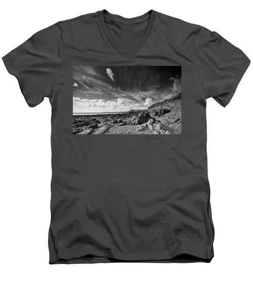 Men's V-Neck T-Shirt featuring the photograph Manorbier Rocks by Steve Purnell