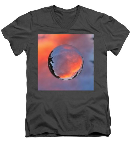 Sunset In A Marble Men's V-Neck T-Shirt by Anna Porter