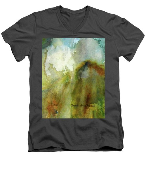Men's V-Neck T-Shirt featuring the painting Melting Mountain by Anna Ruzsan