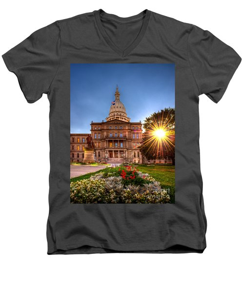 Men's V-Neck T-Shirt featuring the photograph Michigan Capitol - Hdr - 2 by Larry Carr