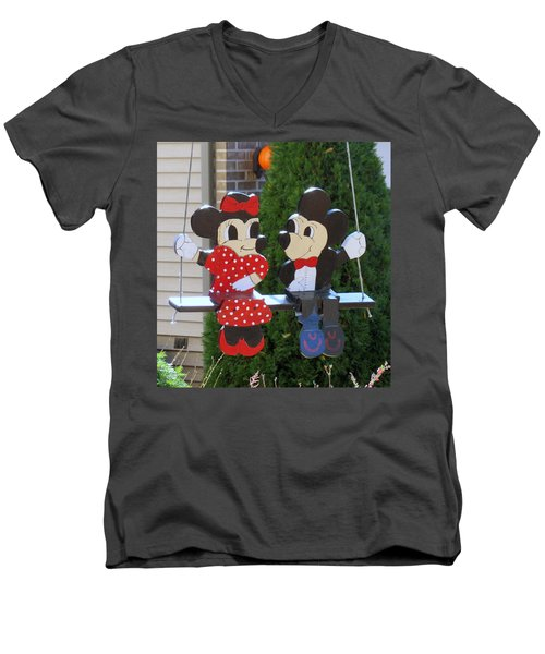 Mickey And Minnie Mouse Men's V-Neck T-Shirt