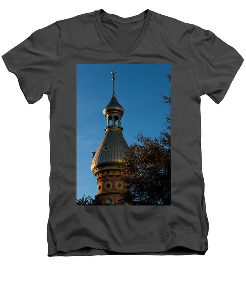 Men's V-Neck T-Shirt featuring the photograph Minaret And Trees by Ed Gleichman