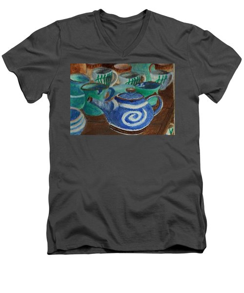 Men's V-Neck T-Shirt featuring the painting Miniature Teapots And Cups by Christy Saunders Church
