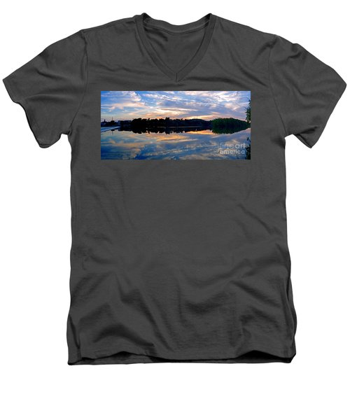 Mirror Mirror On The Water Men's V-Neck T-Shirt by Sue Stefanowicz