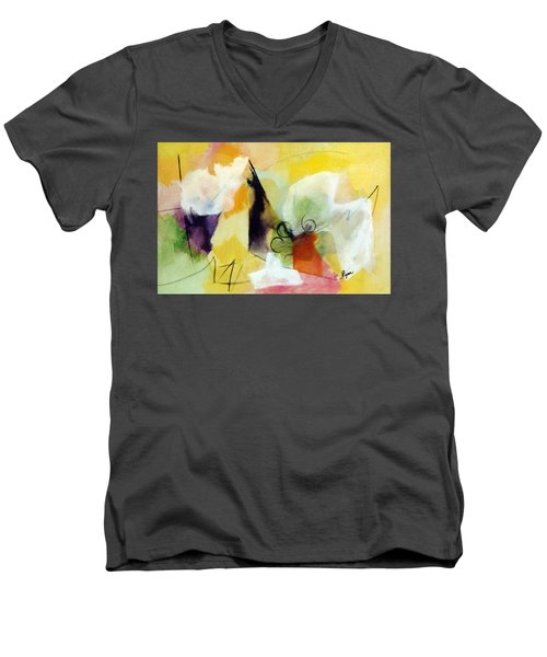 Modern Art With Yellow Black Red And Fanciful Clouds Men's V-Neck T-Shirt