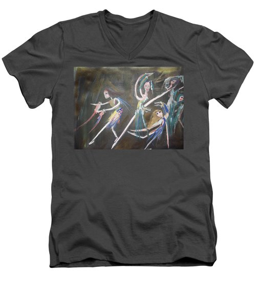 Modern Ballet Men's V-Neck T-Shirt by Judith Desrosiers