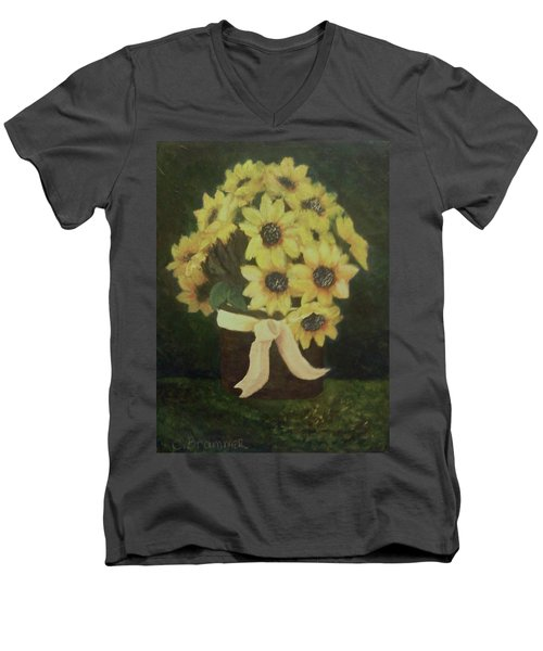 Men's V-Neck T-Shirt featuring the painting Mom's Bouquet by Christy Saunders Church