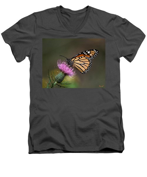 Men's V-Neck T-Shirt featuring the photograph Monarch Butterfly On Thistle 13a by Gerry Gantt
