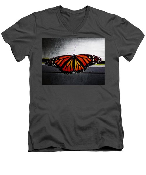 Men's V-Neck T-Shirt featuring the photograph Monarch by Julia Wilcox