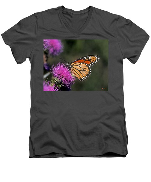 Men's V-Neck T-Shirt featuring the photograph Monarch On Thistle 13f by Gerry Gantt