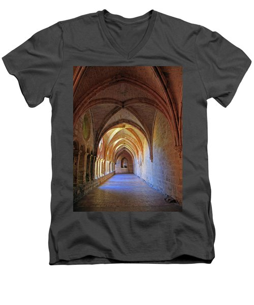 Men's V-Neck T-Shirt featuring the photograph Monastery Passageway by Dave Mills
