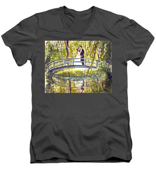 Men's V-Neck T-Shirt featuring the painting Monet Wedding by Clara Sue Beym