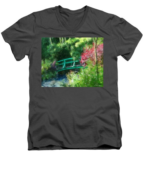 Monet's Garden Men's V-Neck T-Shirt by Diana Haronis