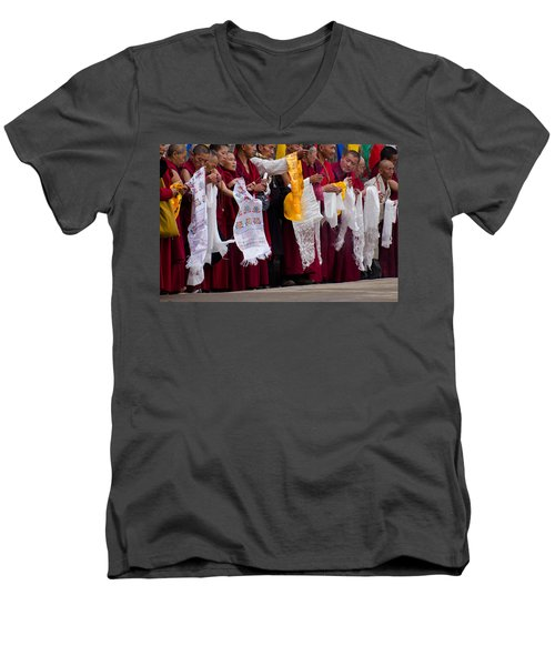 Men's V-Neck T-Shirt featuring the photograph Monks Wait For The Dalai Lama by Don Schwartz