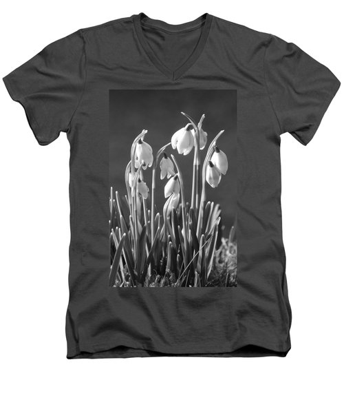 Men's V-Neck T-Shirt featuring the photograph Mono Snowdrops by Lynn Bolt