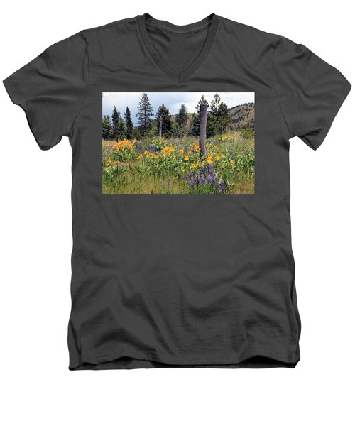 Men's V-Neck T-Shirt featuring the photograph Montana Wildflowers by Athena Mckinzie