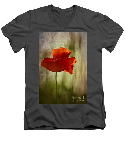 Men's V-Neck T-Shirt featuring the photograph Moody Poppy. by Clare Bambers - Bambers Images