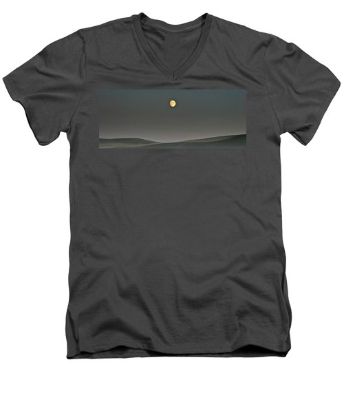 Men's V-Neck T-Shirt featuring the photograph Moon Over The Palouse by Albert Seger