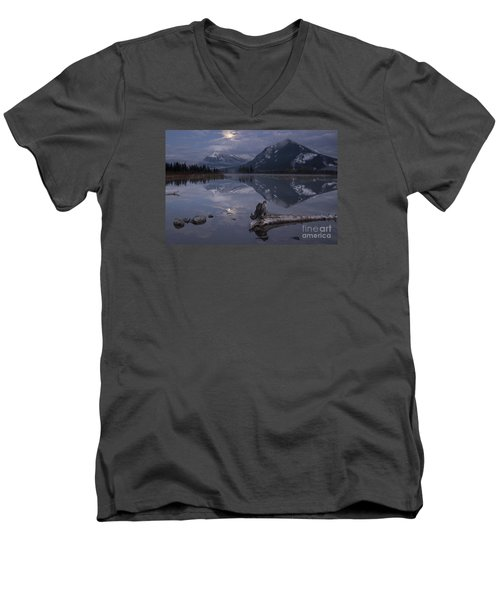 Men's V-Neck T-Shirt featuring the photograph Moonrise Over Banff by Keith Kapple
