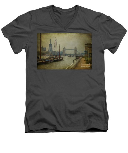 Men's V-Neck T-Shirt featuring the photograph Moored Thames Barges. by Clare Bambers