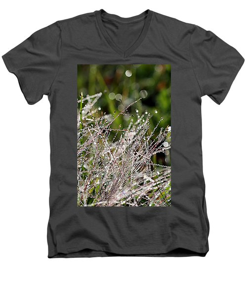 Men's V-Neck T-Shirt featuring the photograph Morning Dew by Lauren Radke