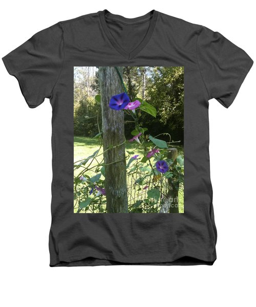 Morning Glory Men's V-Neck T-Shirt by Janice Spivey