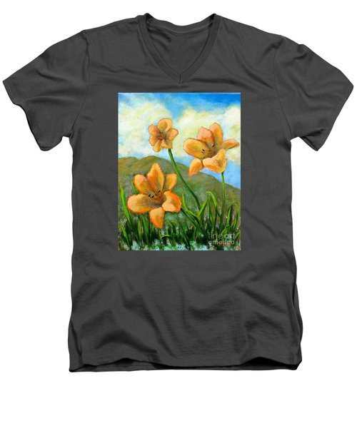 Morning Glow Men's V-Neck T-Shirt by Laurie Morgan