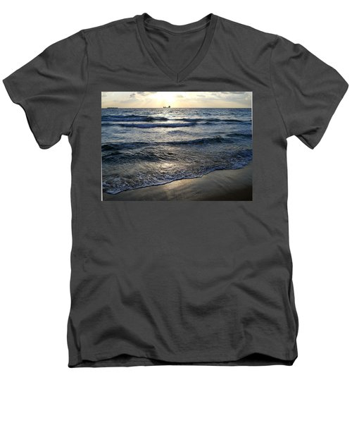 Men's V-Neck T-Shirt featuring the photograph Morning Surf by Clara Sue Beym