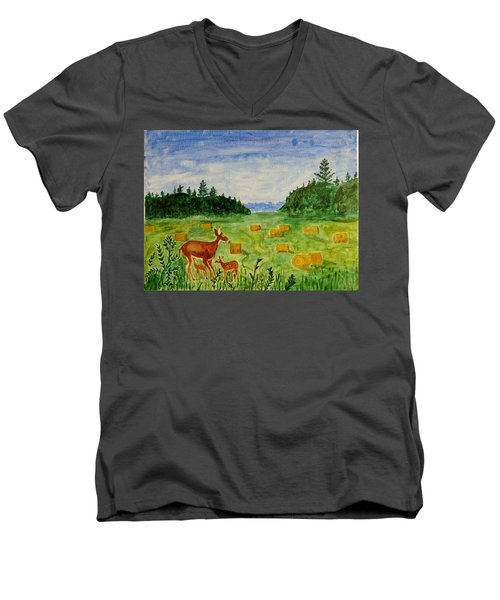 Men's V-Neck T-Shirt featuring the painting Mother Deer And Kids by Sonali Gangane