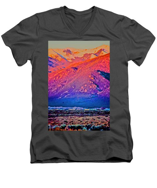 Mt Wheeler At Sunset Men's V-Neck T-Shirt